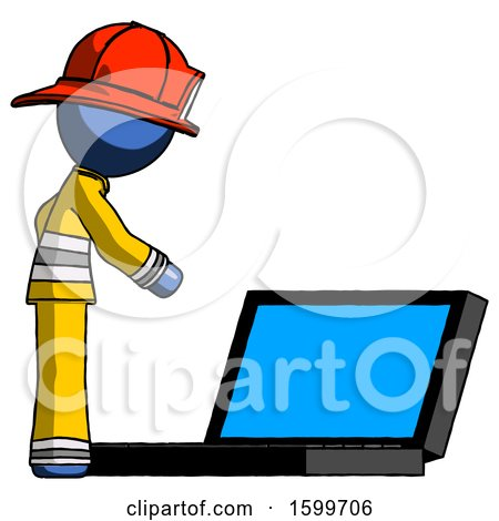 Blue Firefighter Fireman Man Using Large Laptop Computer Side Orthographic View by Leo Blanchette