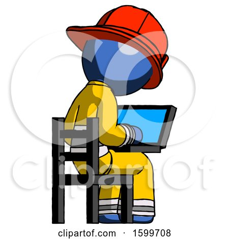 Blue Firefighter Fireman Man Using Laptop Computer While Sitting in Chair View from Back by Leo Blanchette