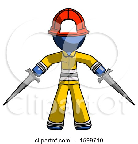 Blue Firefighter Fireman Man Two Sword Defense Pose by Leo Blanchette