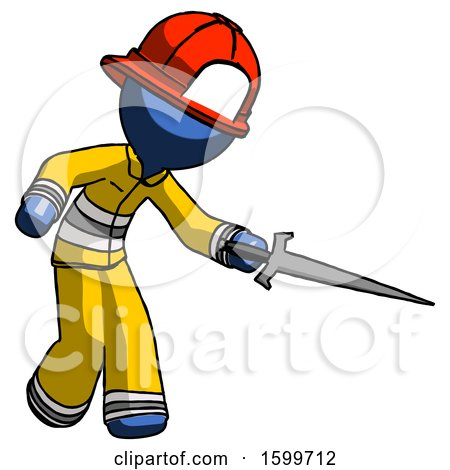 Blue Firefighter Fireman Man Sword Pose Stabbing or Jabbing by Leo Blanchette
