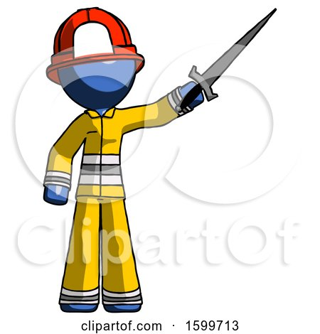 Blue Firefighter Fireman Man Holding Sword in the Air Victoriously by Leo Blanchette