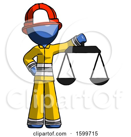 Blue Firefighter Fireman Man Holding Scales of Justice by Leo Blanchette