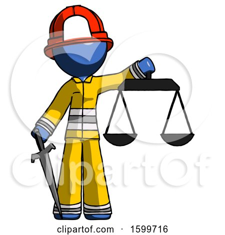 Blue Firefighter Fireman Man Justice Concept with Scales and Sword, Justicia Derived by Leo Blanchette