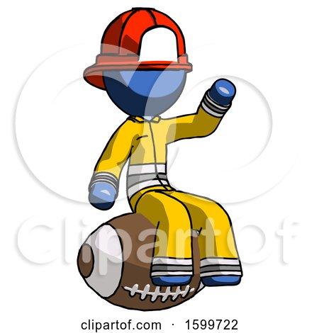 Blue Firefighter Fireman Man Sitting on Giant Football by Leo Blanchette