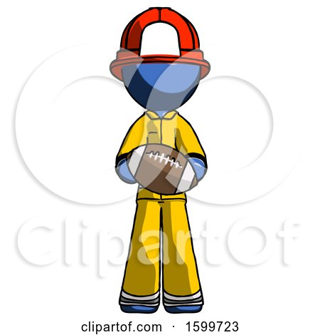 Blue Firefighter Fireman Man Giving Football to You by Leo Blanchette