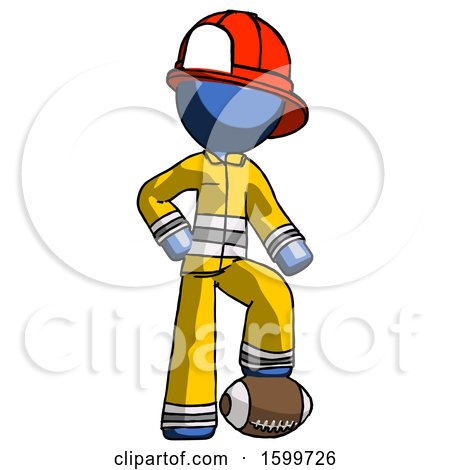 Blue Firefighter Fireman Man Standing with Foot on Football by Leo Blanchette