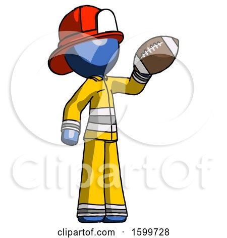 Blue Firefighter Fireman Man Holding Football up by Leo Blanchette