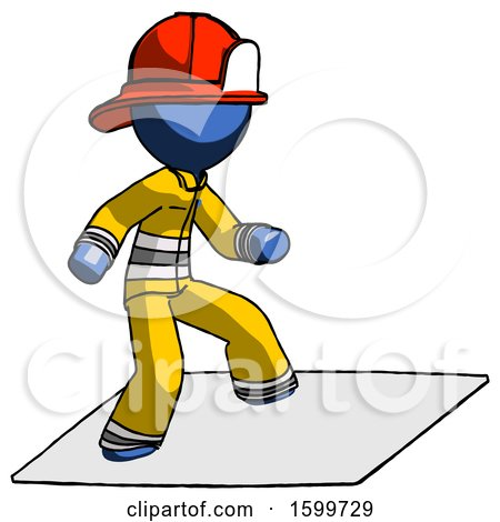 Blue Firefighter Fireman Man on Postage Envelope Surfing by Leo Blanchette