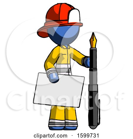 Blue Firefighter Fireman Man Holding Large Envelope and Calligraphy Pen by Leo Blanchette