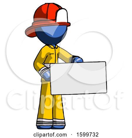 Blue Firefighter Fireman Man Presenting Large Envelope by Leo Blanchette
