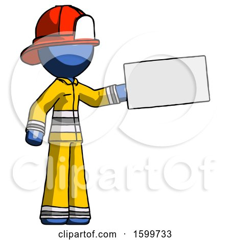 Blue Firefighter Fireman Man Holding Large Envelope by Leo Blanchette