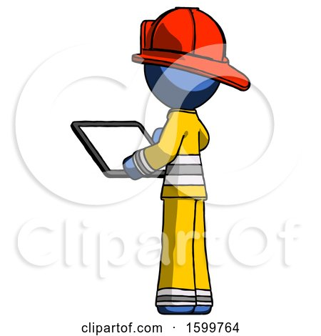 Blue Firefighter Fireman Man Looking at Tablet Device Computer with Back to Viewer by Leo Blanchette