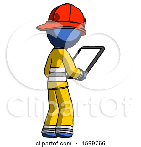 Blue Firefighter Fireman Man Looking at Tablet Device Computer Facing Away by Leo Blanchette