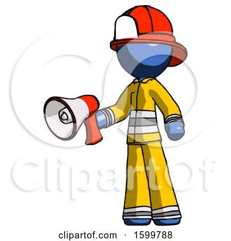 Blue Firefighter Fireman Man Holding Megaphone Bullhorn Facing Right by Leo Blanchette