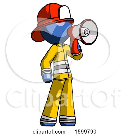 Blue Firefighter Fireman Man Shouting into Megaphone Bullhorn Facing Right by Leo Blanchette