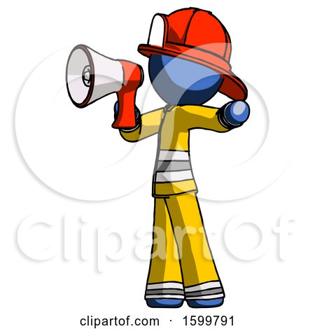 Blue Firefighter Fireman Man Shouting into Megaphone Bullhorn Facing Left by Leo Blanchette