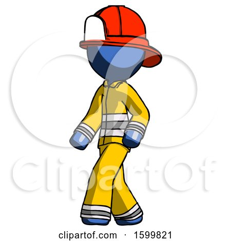 Blue Firefighter Fireman Man Man Walking Turned Left Front View by Leo Blanchette
