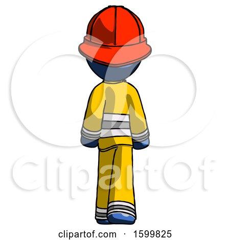 Blue Firefighter Fireman Man Walking Away, Back View by Leo Blanchette