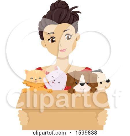 Clipart of a Teen Girl Holding a Box of Foster Puppies and Kittens - Royalty Free Vector Illustration by BNP Design Studio