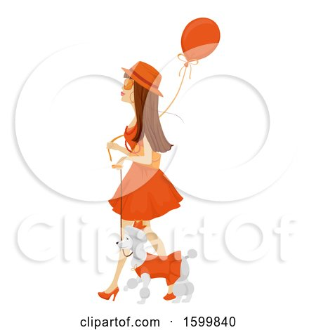 Clipart of a Teen Girl in an Orange Dress, Walking Her Dog and Celebrating Kings Day - Royalty Free Vector Illustration by BNP Design Studio