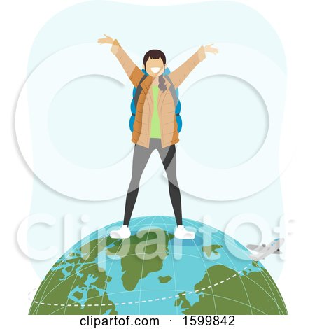 Clipart of a Teen Girl Traveler Standing on Top of the Globe, with a Flying Plane - Royalty Free Vector Illustration by BNP Design Studio