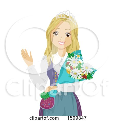 Clipart of a Teen Sweden Festival Queen Girl Wearing a Crown and Holding Flowers - Royalty Free Vector Illustration by BNP Design Studio