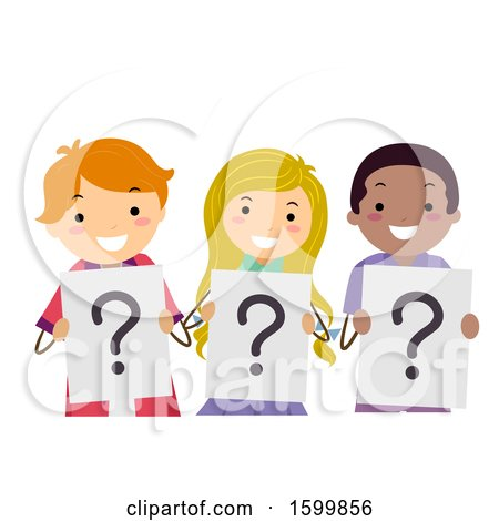 Clipart of a Group of Teenagers Holding Question Mark Signs - Royalty Free Vector Illustration by BNP Design Studio