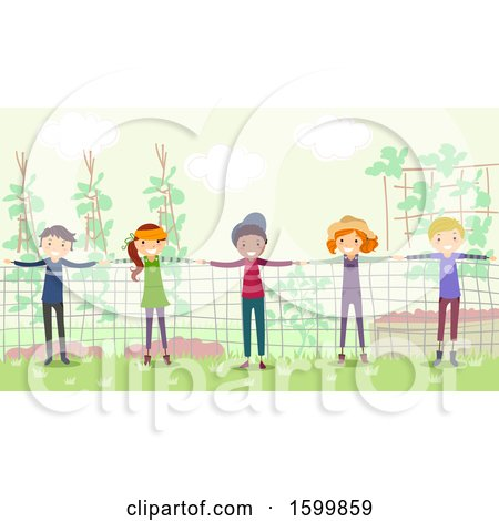 Clipart of a Group of Teenagers Forming a Human Fence in a Garden - Royalty Free Vector Illustration by BNP Design Studio