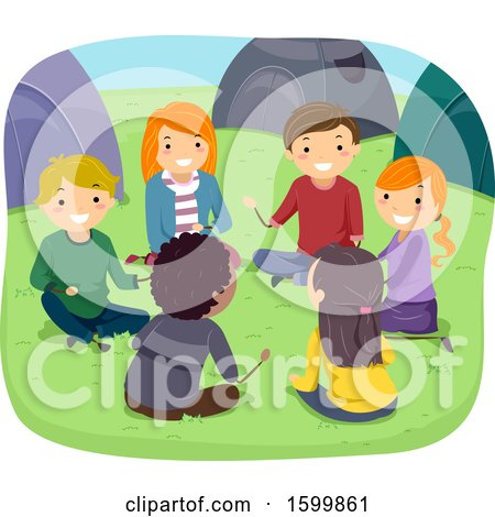 Clipart of a Group of Teenagers Sitting in a Circle at Camp - Royalty Free Vector Illustration by BNP Design Studio