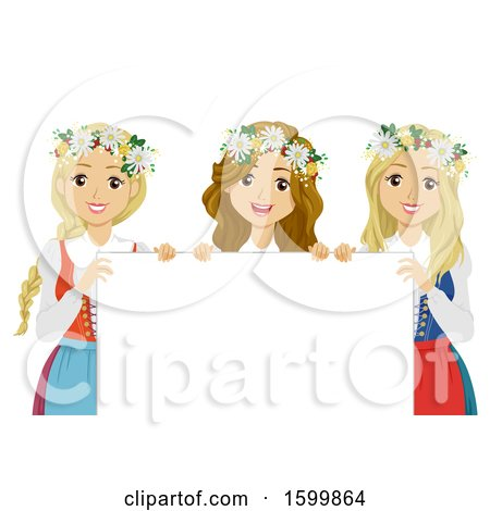 Clipart of a Group of Teen Girls Holding a Sign and Wearing Flower Wreaths for Midsummer Festival - Royalty Free Vector Illustration by BNP Design Studio