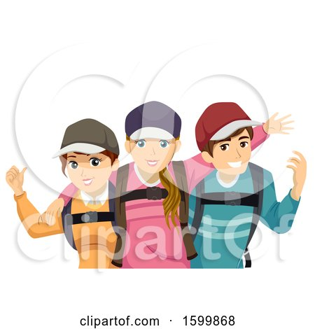 Clipart of a Group of Teenage Travelers - Royalty Free Vector Illustration by BNP Design Studio