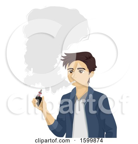 Clipart of a Teen Guy Smoking an E Cigarette| Royalty Free Vector Illustration by BNP Design Studio
