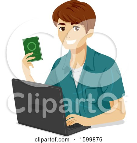 Clipart of a Teen Guy Holding a Passpot and Using a Laptop - Royalty Free Vector Illustration by BNP Design Studio