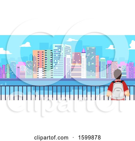Clipart of a Rear View of a Teen Guy Traveler Viewing a City - Royalty Free Vector Illustration by BNP Design Studio