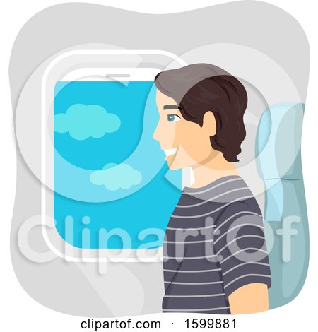 Clipart of a Teen Guy Sitting in an Airplane Window Seat - Royalty Free Vector Illustration by BNP Design Studio