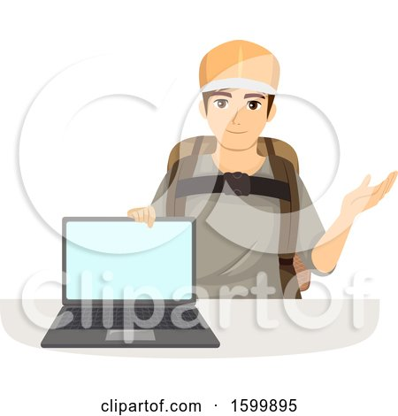 Clipart of a Teen Guy Ready to Travel, Showing a Laptop with a Blank Screen - Royalty Free Vector Illustration by BNP Design Studio