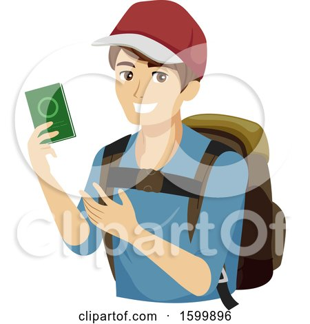 Clipart of a Teen Guy Traveler Holding a Passport - Royalty Free Vector Illustration by BNP Design Studio