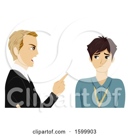 Clipart of a Teenage Guy Intern Getting Scolded by His Boss - Royalty Free Vector Illustration by BNP Design Studio