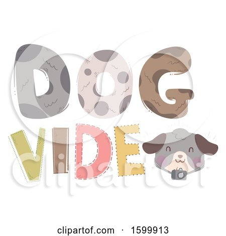 Clipart of a Dog Video Text Design - Royalty Free Vector Illustration by BNP Design Studio