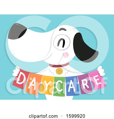 Clipart of a Happy Dog Holding a Day Care Banner - Royalty Free Vector Illustration by BNP Design Studio
