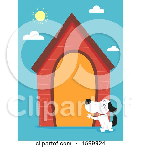 Clipart of a Dog Waving by His Large House - Royalty Free Vector Illustration by BNP Design Studio