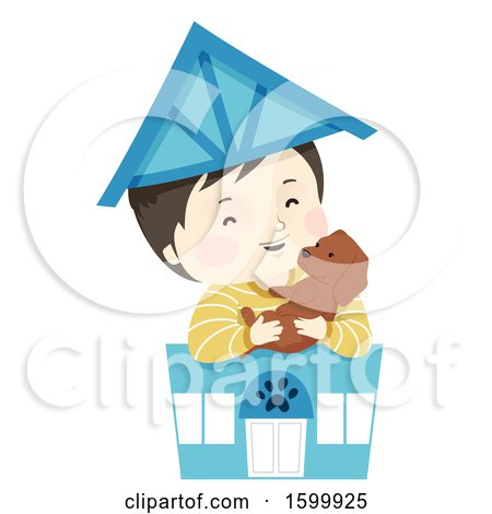 Clipart of a Happy Boy Holding a Dog in a Toy Pet Shop - Royalty Free Vector Illustration by BNP Design Studio