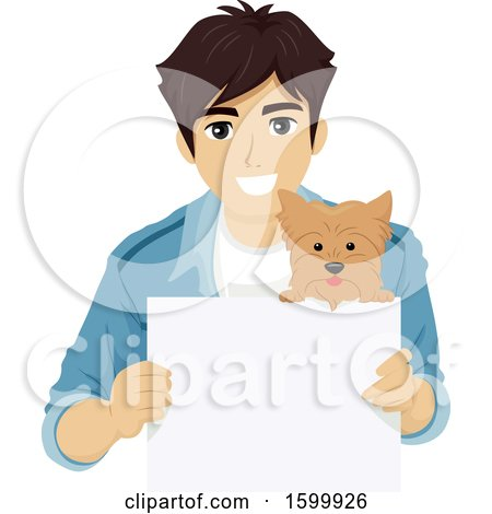 Clipart of a Young Man and Dog with a Blank Sign - Royalty Free Vector Illustration by BNP Design Studio