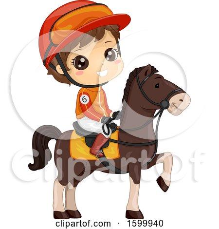 Clipart of a Brunette White Jockey Boy on a Horse - Royalty Free Vector Illustration by BNP Design Studio