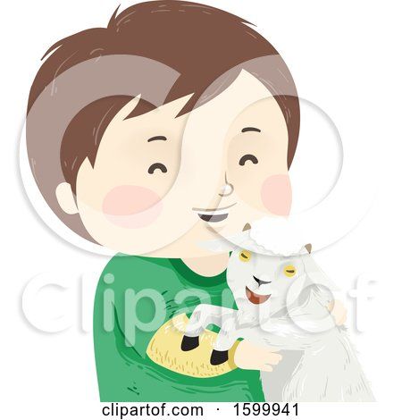 Clipart of a Happy Boy Holding a Pet Goat - Royalty Free Vector Illustration by BNP Design Studio