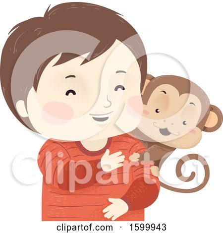 Clipart of a Happy Boy with a Pet Monkey on His Shoulder - Royalty Free Vector Illustration by BNP Design Studio