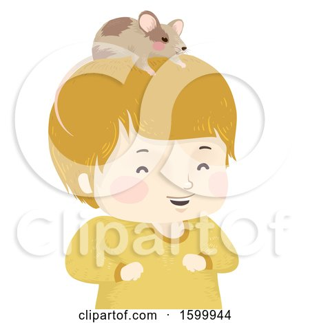 Clipart of a Happy Boy with a Pet Mouse on His Head - Royalty Free Vector Illustration by BNP Design Studio