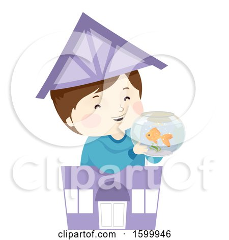 Clipart of a Happy Boy Holding a Fish Bowl in a Toy Pet Shop - Royalty Free Vector Illustration by BNP Design Studio