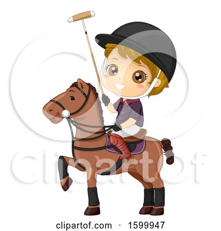 Clipart of a Blond White Boy Playing Polo on Horseback - Royalty Free Vector Illustration by BNP Design Studio
