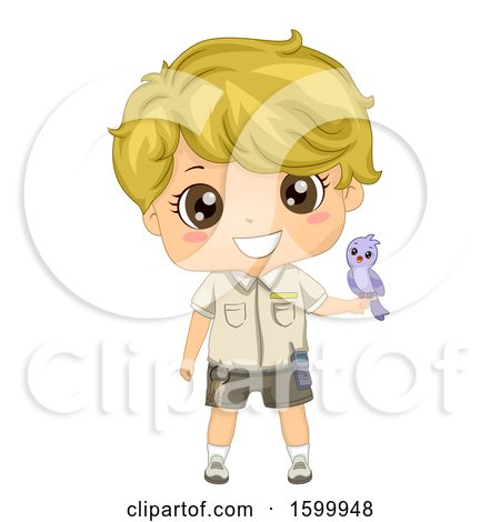 Clipart of a Blond White Zoo Keeper Boy with a Bird on His Hand - Royalty Free Vector Illustration by BNP Design Studio